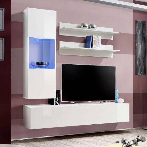 meuble tv mural design fly iii 190cm blanc