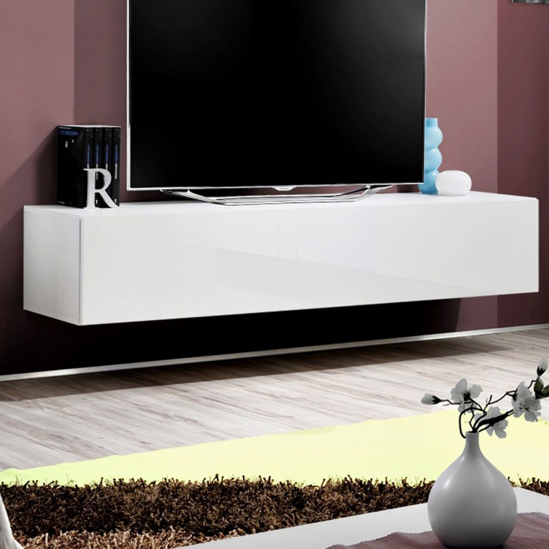 meuble tv mural design fly i 160cm blanc