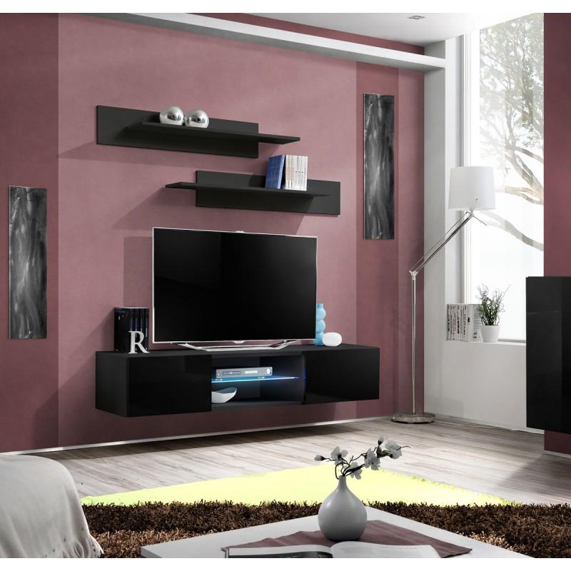 Meuble TV Mural Design Fly III 160cm Noir
