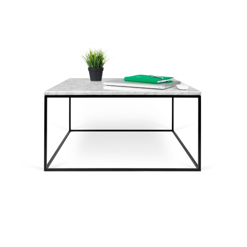 temahome table basse gleam 75cm marbre blanc metal noir