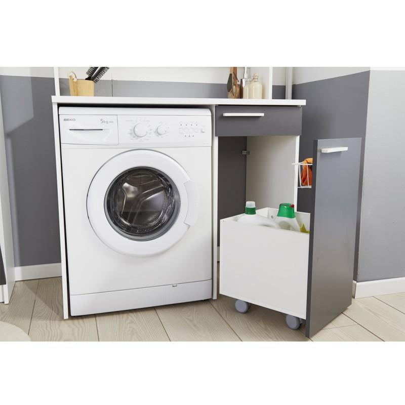 meuble rangement pour machine a laver verzak 104cm gris