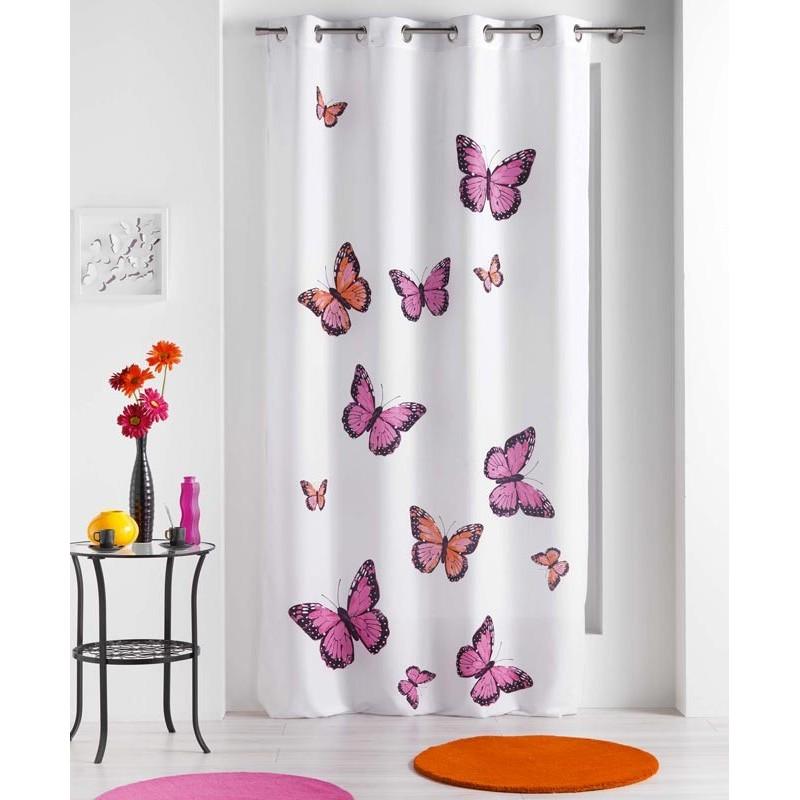 rideau papillons bella rose 140x240cm