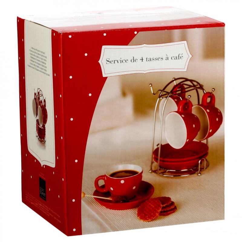 set de 4 tasses a cafe soucoupes pois 17cm rouge