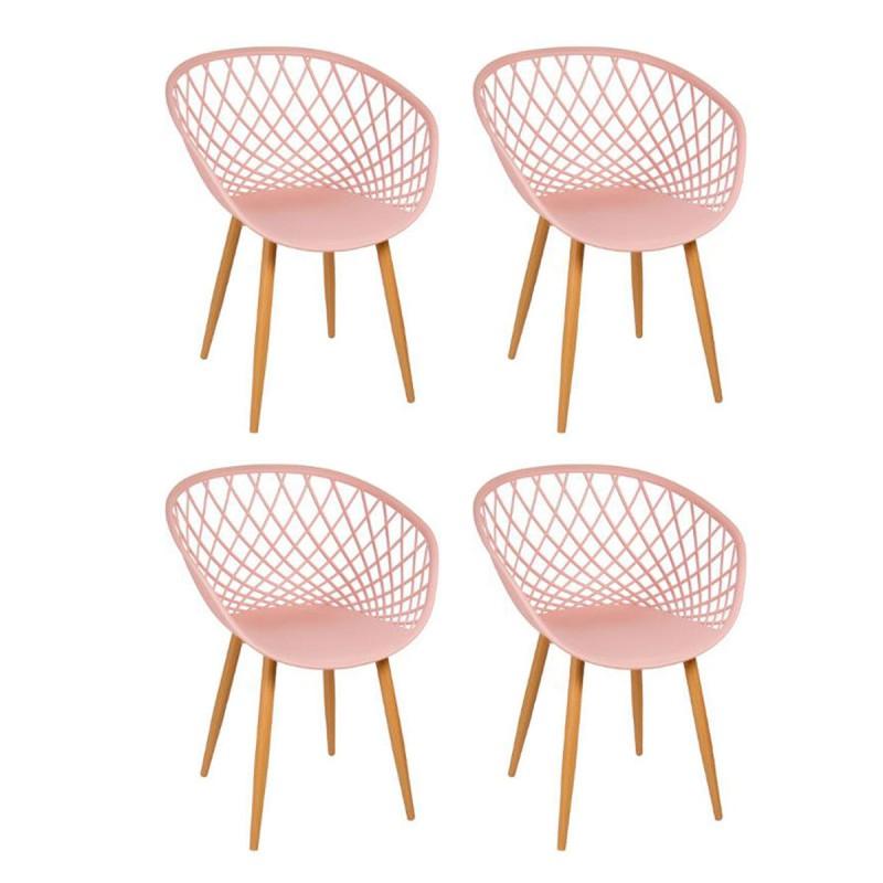 lot de 4 chaise design zina 81cm rose