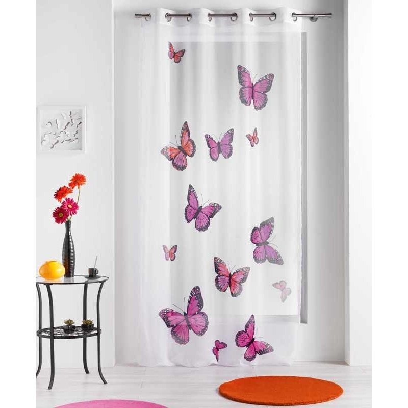 voilage papillons bella rose 140x240 cm
