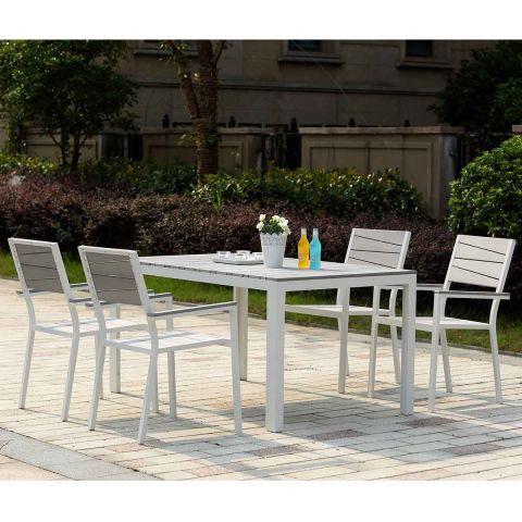 salon de jardin en aluminium 6 places gris clair