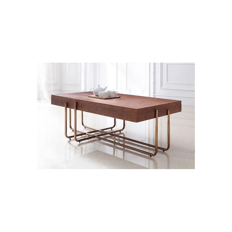 table basse cuivre bois pura 120cm naturel