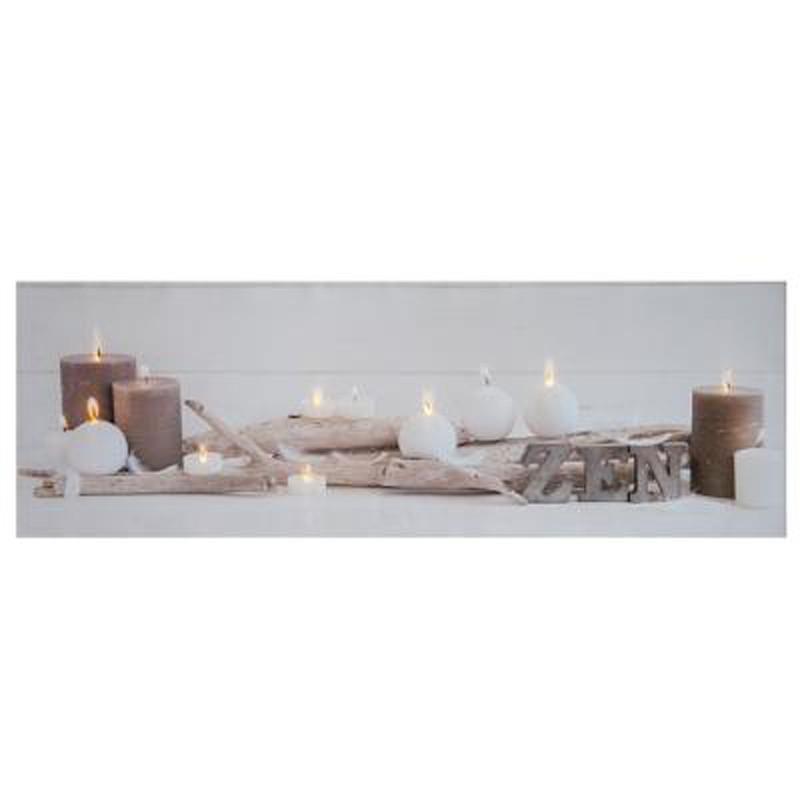 Toile Imprimee 8 Led Zen 90cm Blanc