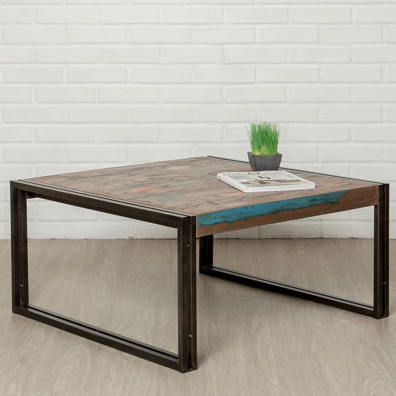table basse carre en teck industriel loft 80cm naturel