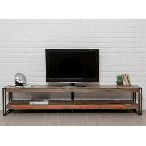 meuble tv en teck industriel loft 200cm marron