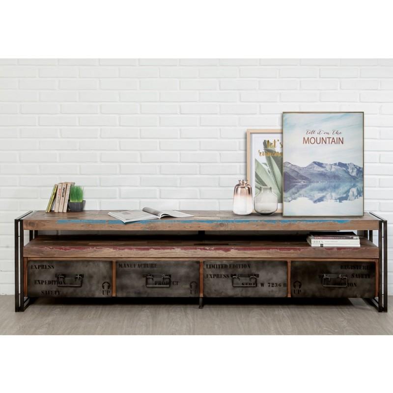meuble tv 4 tiroirs en teck industriel loft 210cm marron