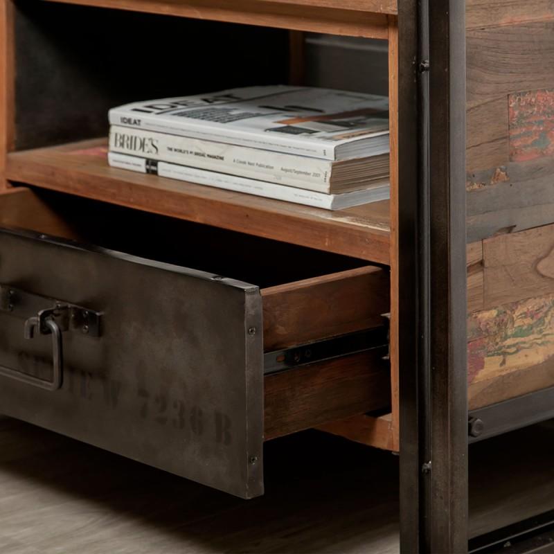 meuble tv en teck industriel loft 110cm marron