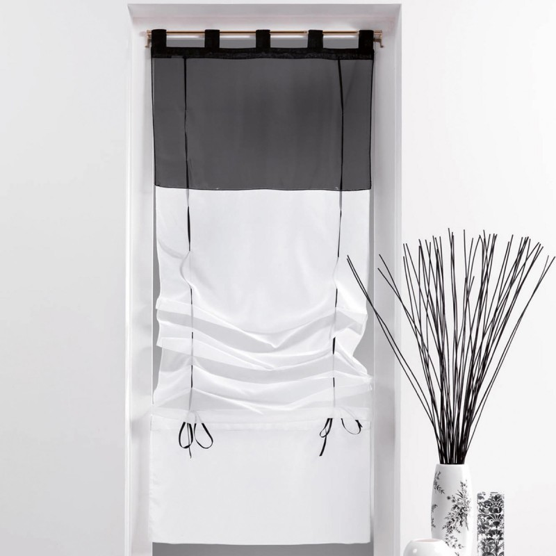 store voilage duo 45x180cm blanc noir