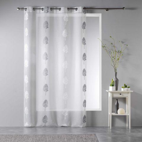 rideau voilage arcadia 140x240cm blanc gris