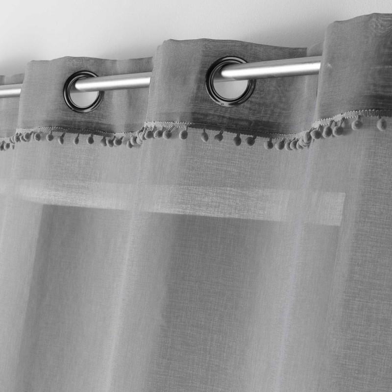 rideau voilage a pompons poupette 140x240cm gris