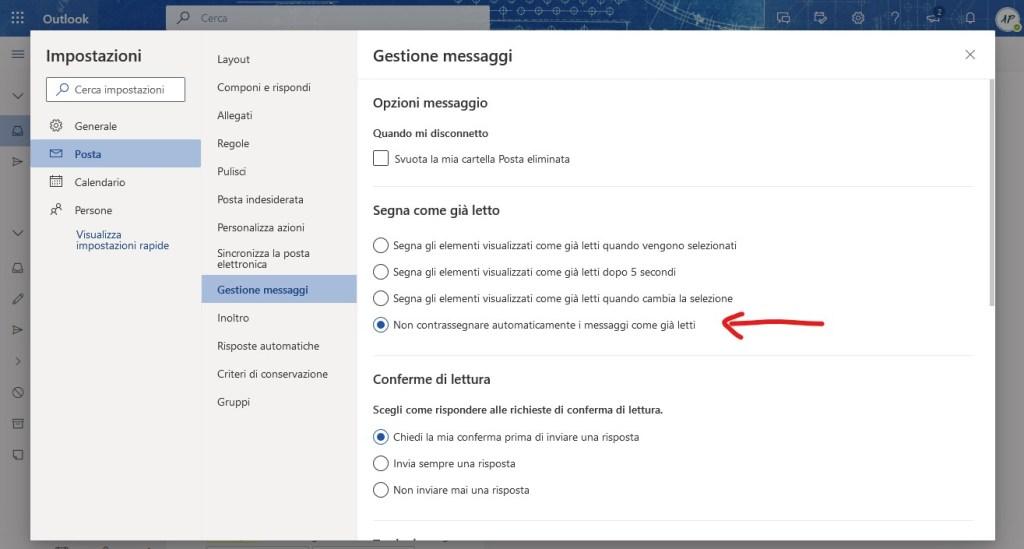 Outlook messaggio già letto alla modifica della selezione