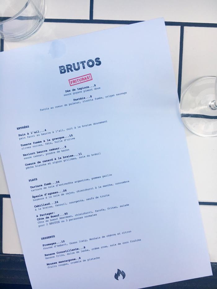 Brutos Restaurant Paris menu