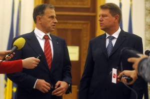 Klaus Iohannis with the PSD President in 2009. Photo Credit: Anti.Usl, Flickr CC