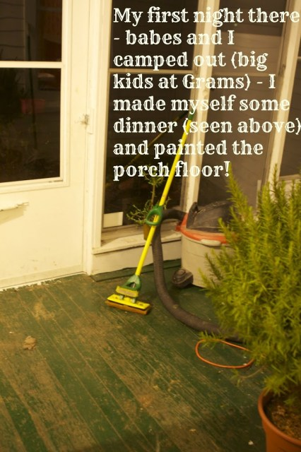 porch with mop and overlaying text