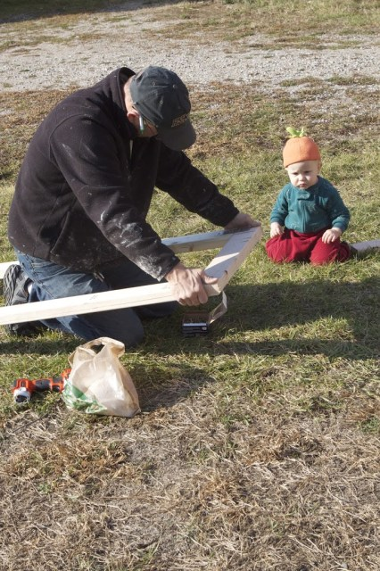 baby watches man build a side frame