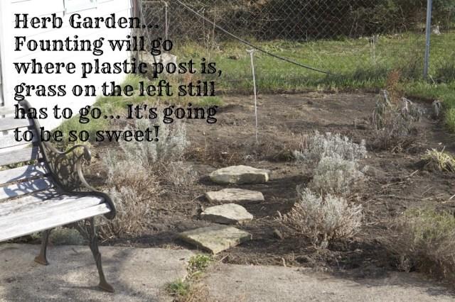herb garden walkway with descriptive text overlaid