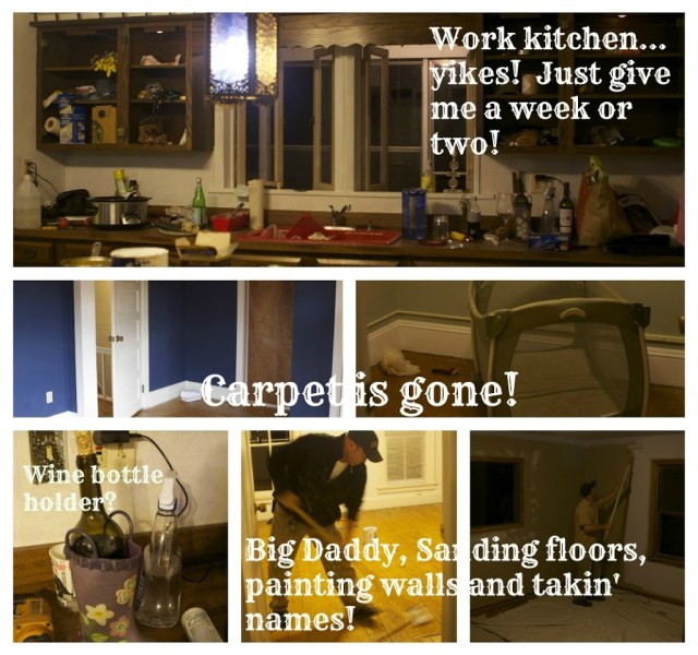 collage of work on the kitchen