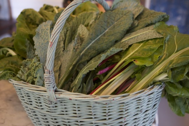 chard leaves in a white basket