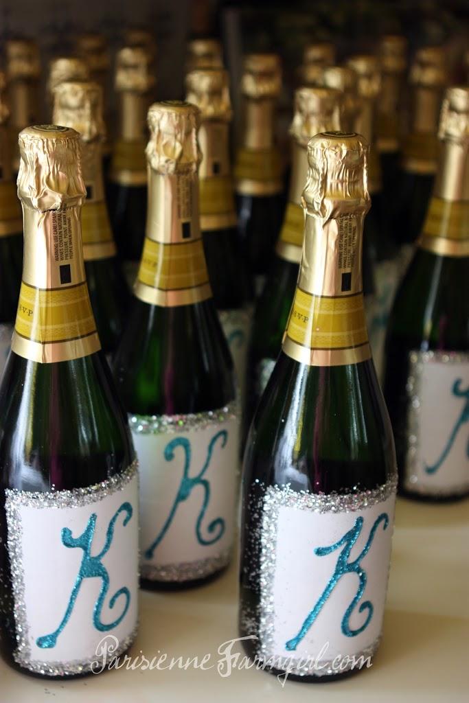 Customised champagne bottles