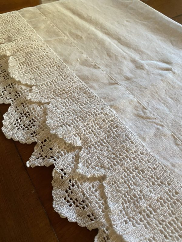 Vintage Linen Large Table Runner/Dresser Scarf with Crotched Edge