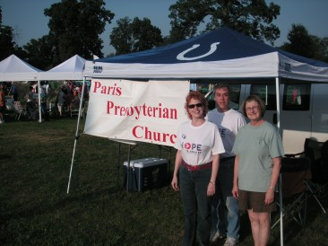 Revs Laurie and Rodger are pictured with Deb Benefiel at the annual Paris Relay for Life walk for American Cancer Society.