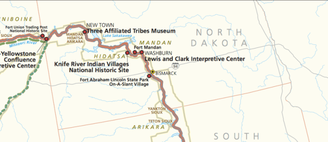 The North Dakota map of the Lewis and Clark National Historic Trail. A full is available here: http://www.nps.gov/lecl/planyourvisit/upload/lecl%20map.pdf