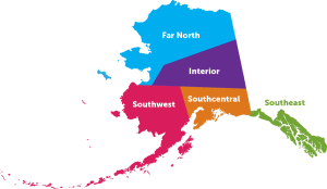 Regions of Alaska Map - Map courtesy of RV Alaska.