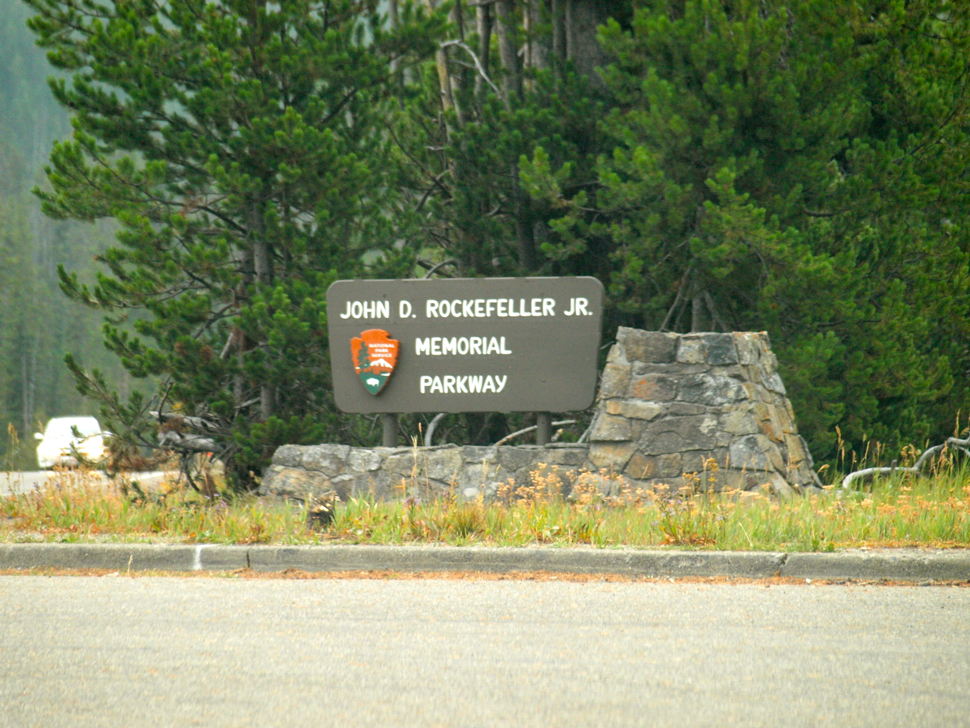 John D. Rockefeller Memorial Parkway Sign