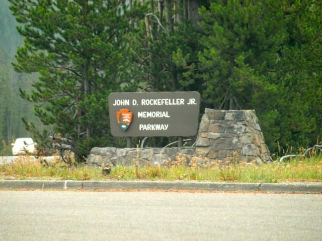 John D. Rockefeller Memorial Parkway Sign