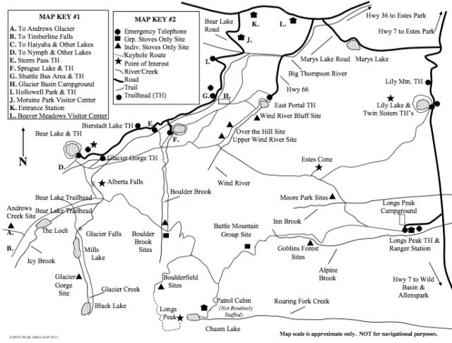Longs Peak Area - Map reprinted from http://www.nps.gov/romo/planyourvisit/upload/Longs-Peak-2012-2.pdf
