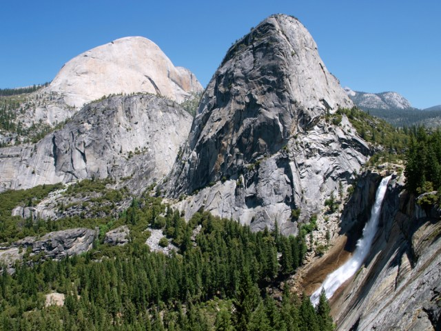 Nevada Falls and Liberty Cap from the John Muir Trail - Yosemite National Park