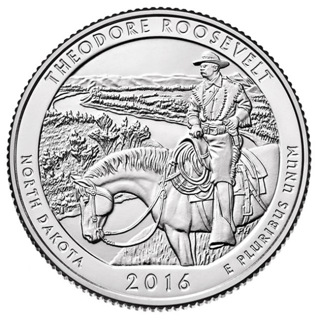 Theodore Roosevelt National Park Quarter - to be released on August 25, 2016. Image provided by USMint.gov