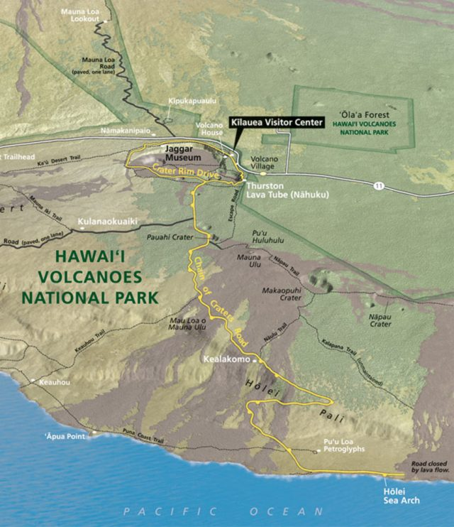 A Map of the Chain of Craters Road - Provided by NPS.gov