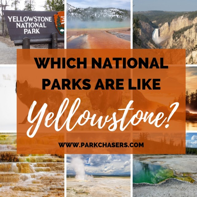 Logo with Nine Images describing the national parks like Yellowstone National Park