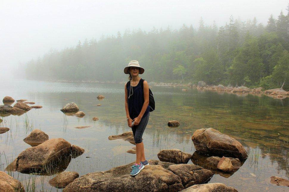 Girl Hiking at Jordan Pond, Acadia National Park