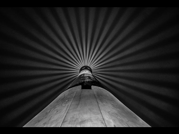 Fire Island Lighthouse Black and White photo at night.