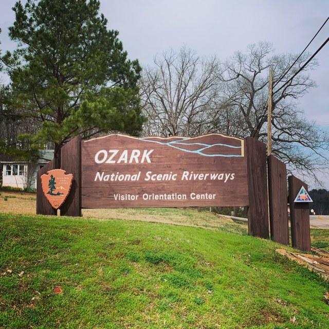 Ozark National Scenic Riverways entrance sign