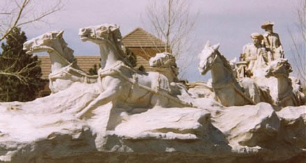 Statue of stagecoach at the Wheel park, parker colorado south of the parker library.