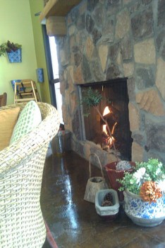 Where's this cozy fireplace?