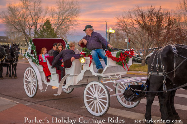 holiday carriage rides on Mainstreet Parker colorado