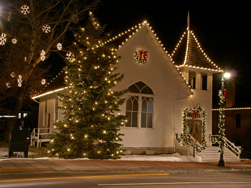 a favorite holiday site in Parker. Ruth Chapel all dress up for the Christmas Holidays in 2010