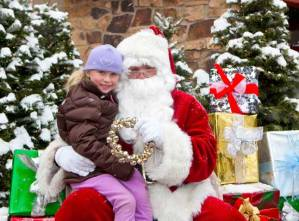 Santa and kids in snowmass village mall 2011