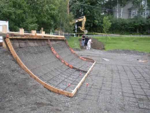 Metal rebar installed for gridwork