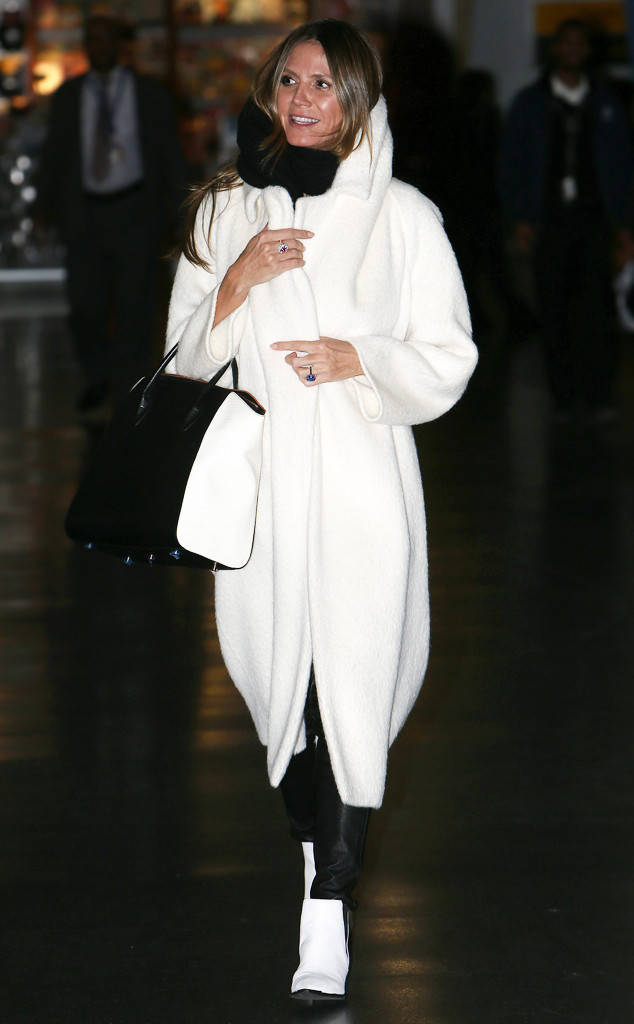 ESC: Heidi Klum, White Wrap Coat
