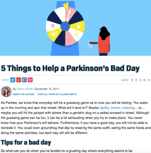5 Things to Help a Parkinson's Bad Day